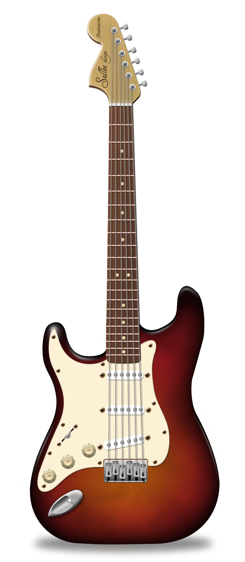 Ilustración gratis - Ilustración de una guitarra con notas musicales