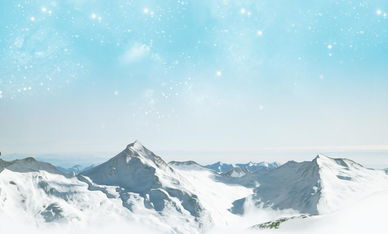 Ilustración gratis - Montañas nevadas con cielo estrellado al amanecer
