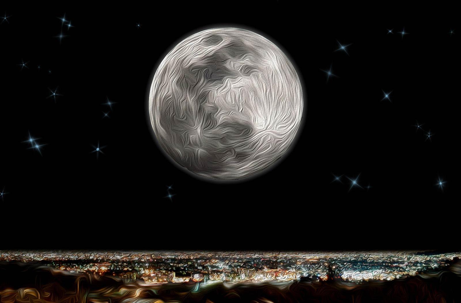 Ilustración gratis - La Luna sobre la ciudad