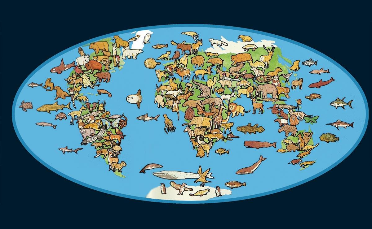 Ilustración gratis - Animales del mundo en un mapa mundi