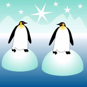 Ilustración de dos simpáticos pingüinos
