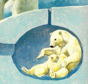 Oso polar madre y sus cachorros bajo el hielo