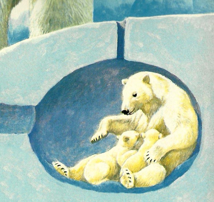 Ilustración gratis - Oso polar madre y sus cachorros bajo el hielo