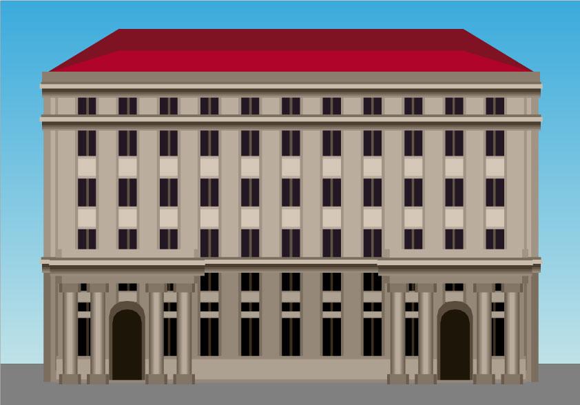 Ilustración gratis - Gran edificio de congresos