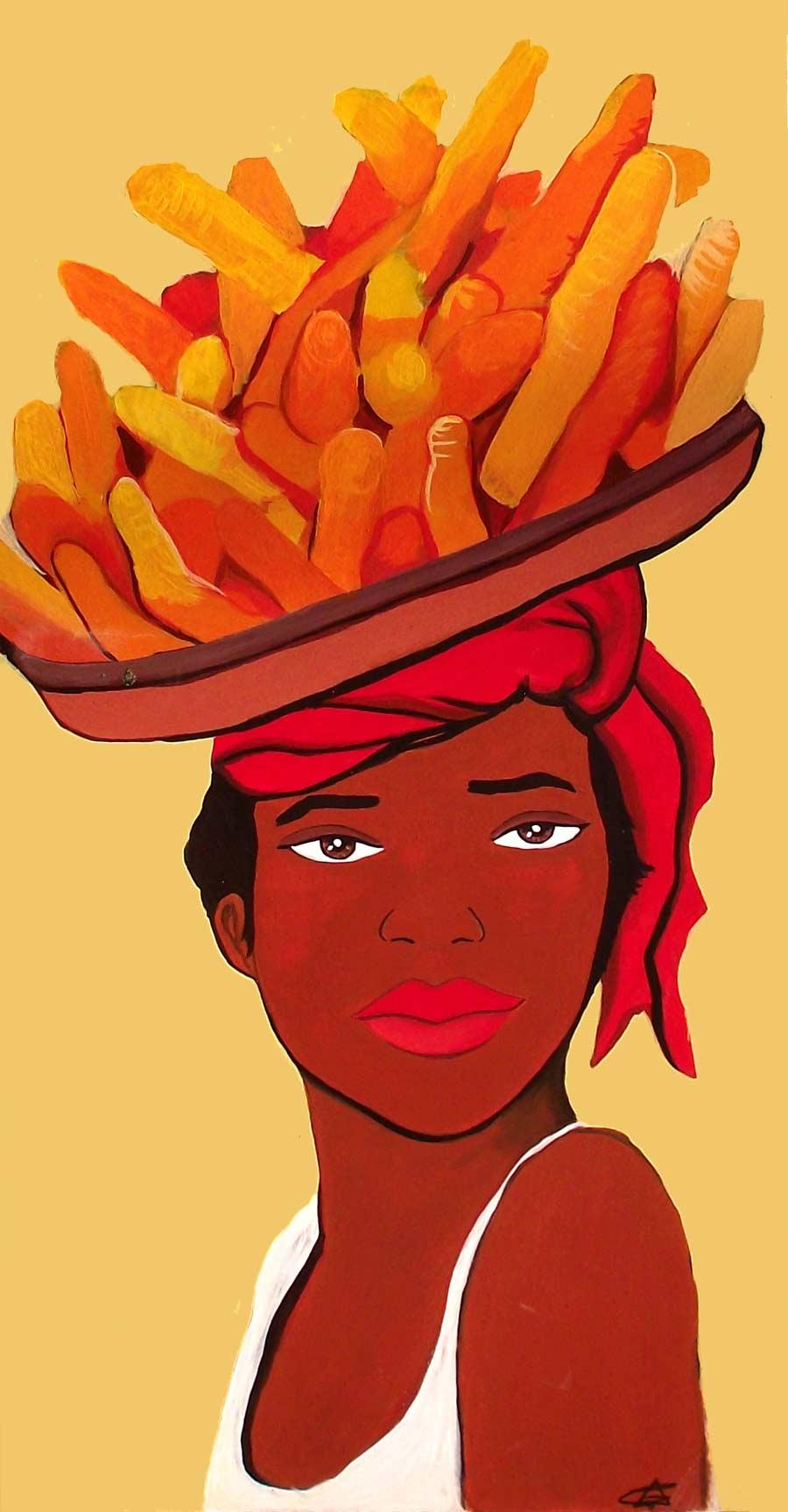 Mujer africana con zanahorias
