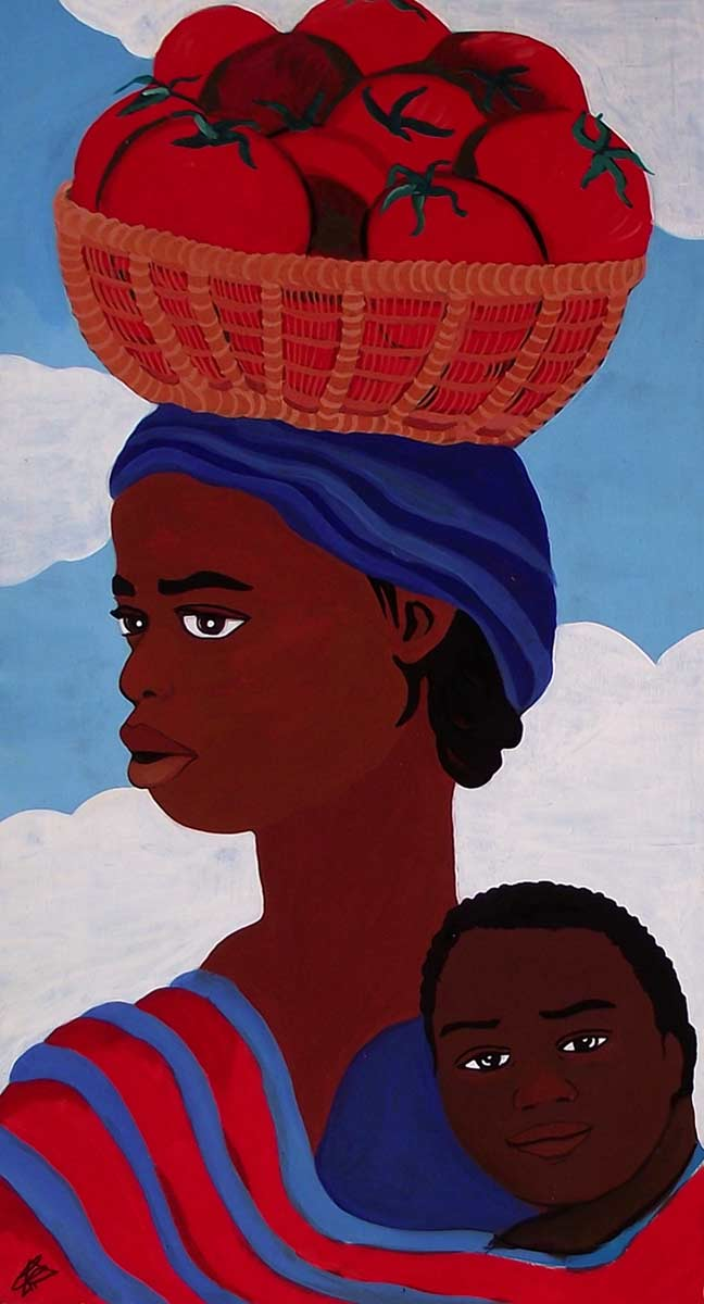 Mujer africana con tomates