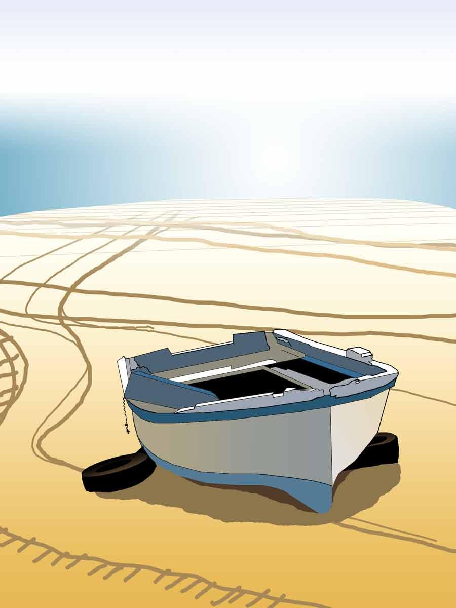 dibujo digital barca playa