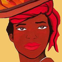 Mujer africana con unas zanahorias