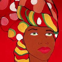 Mujer africana con turbante en la cabeza