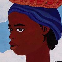 Africana con tomates y un niño