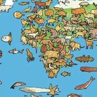 Distribución de los animales un el mapa del mundo