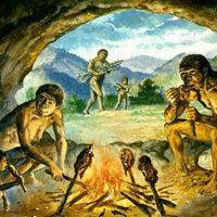 Dibujo con la vida del hombre prehistórico