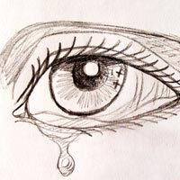 Dibujo a lápiz de un ojo con una lágrima