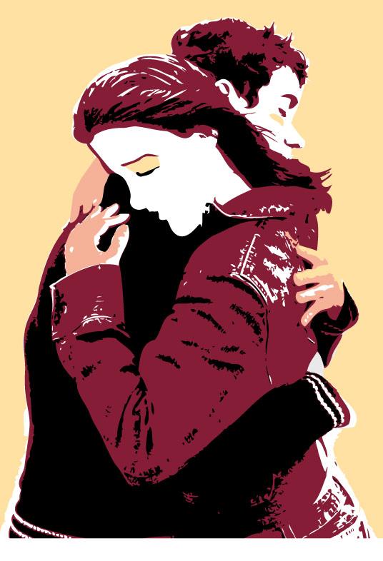 Ilustración gratis - abrazo de una pareja