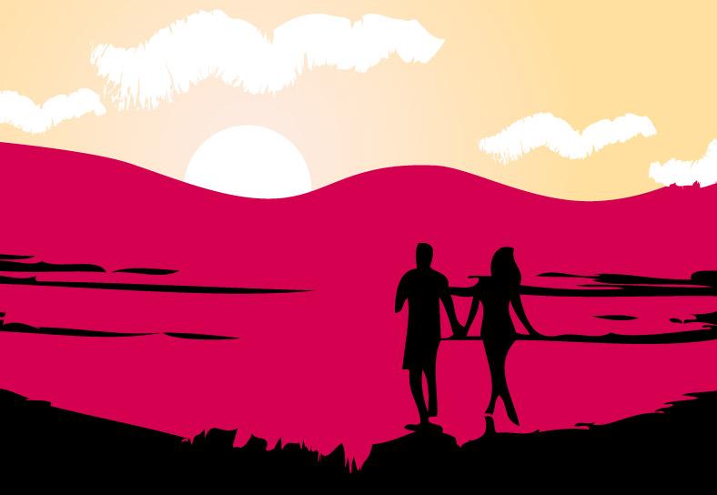 Ilustración gratis - Pareja de enamorados paseando