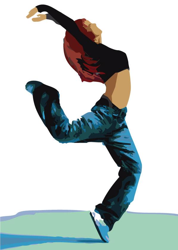 Ilustración gratis - Danza moderna - chica con vaqueros