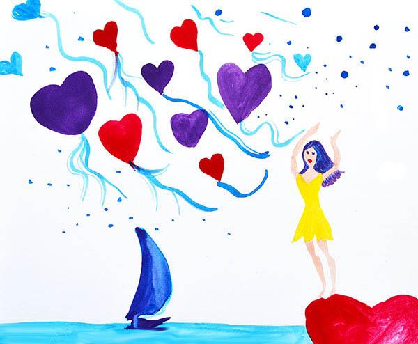 Ilustración gratis - Expresión libertad  - Mujer deja libre sus corazones
