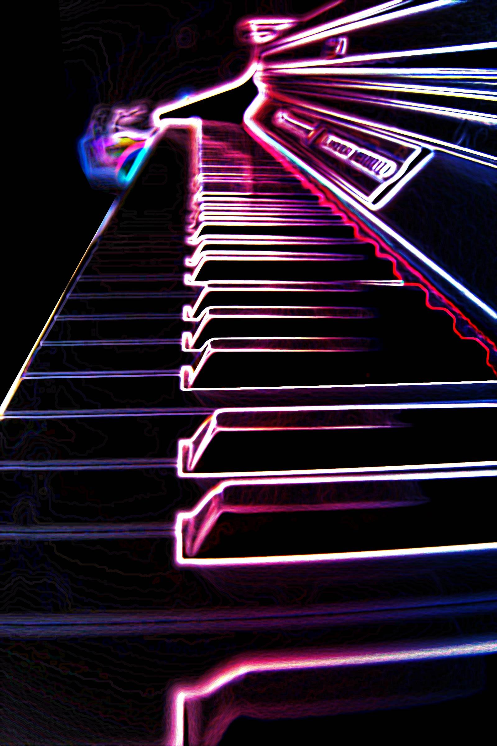 Ilustración gratis - EL piano eléctrico - luces de neón