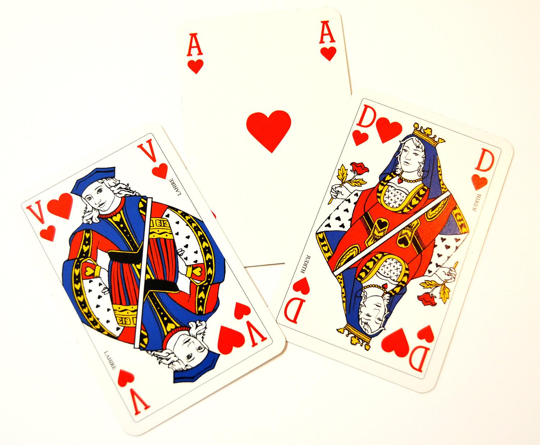 Ilustración gratis - As, Dama y Caballero de corazones