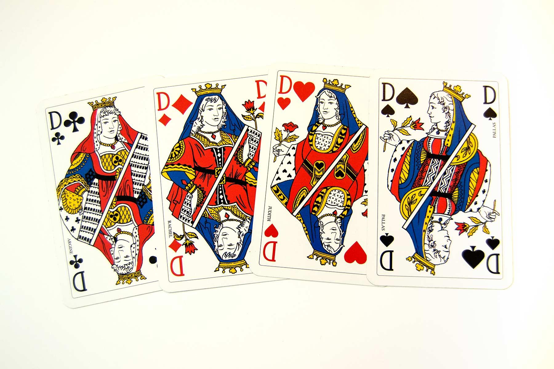 Ilustración gratis - Cartas Baraja inglesa - Damas del poker