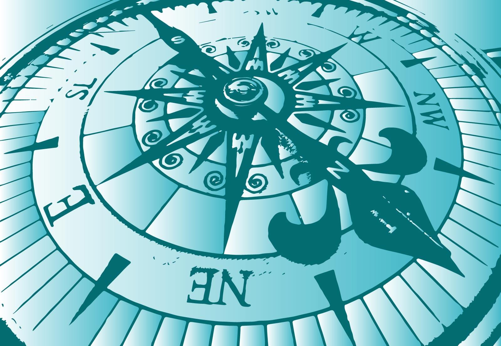 Ilustración gratis - Esfera de una brújula magnética