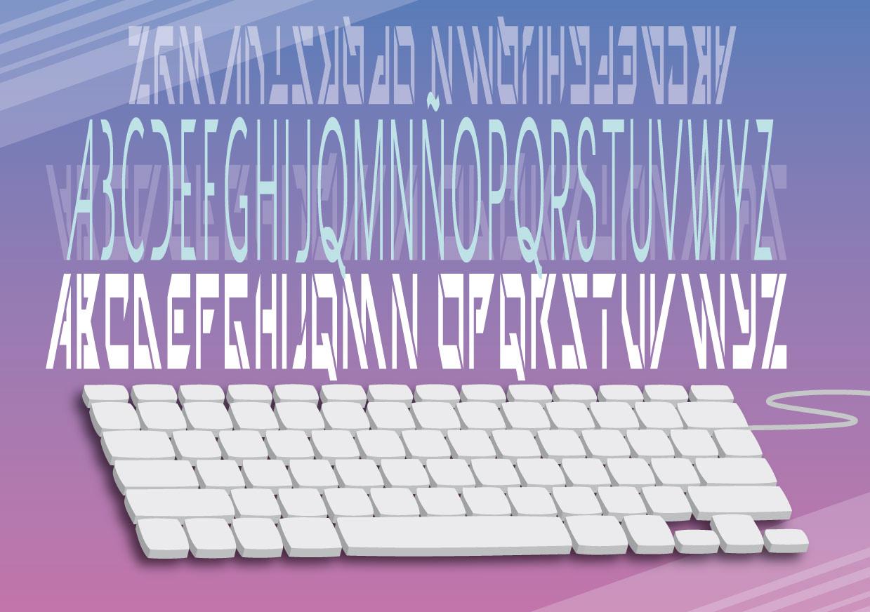 Ilustración con un teclado en 3d y textos