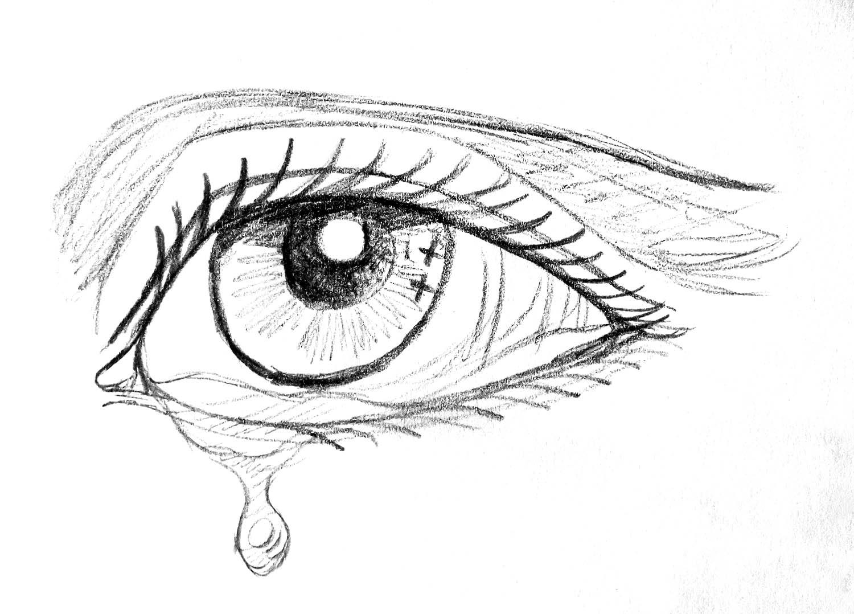 Ilustración gratis - Dibujo a lápiz de un ojo con una lágrima