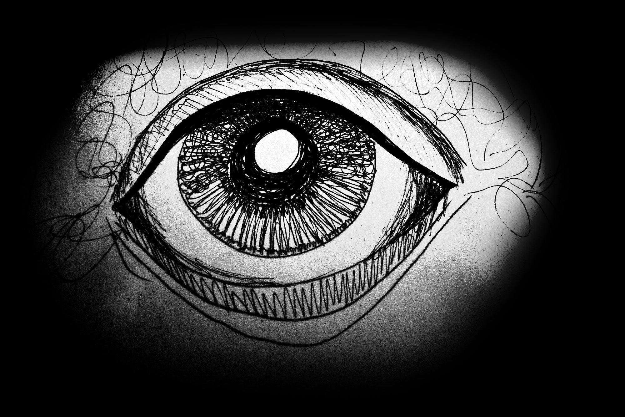 Ilustración gratis - Dibujo de un ojo en la oscuridad