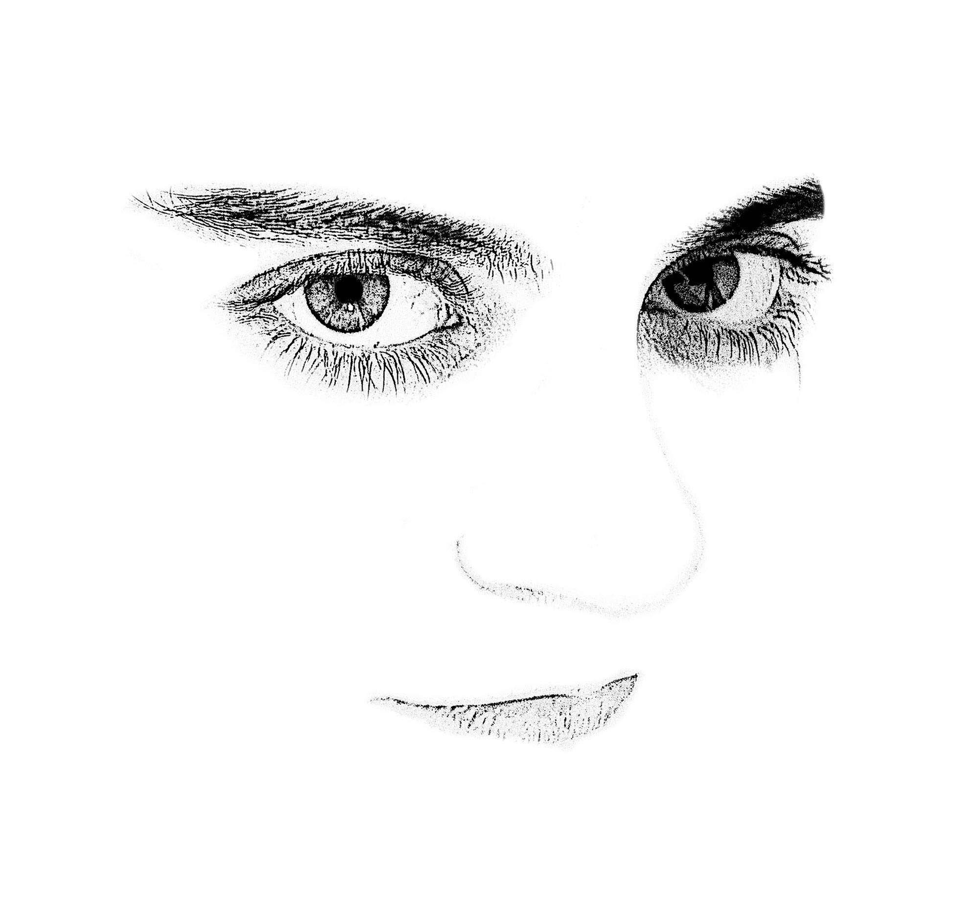 Ilustración gratis - Rostro blanco con grandes ojos