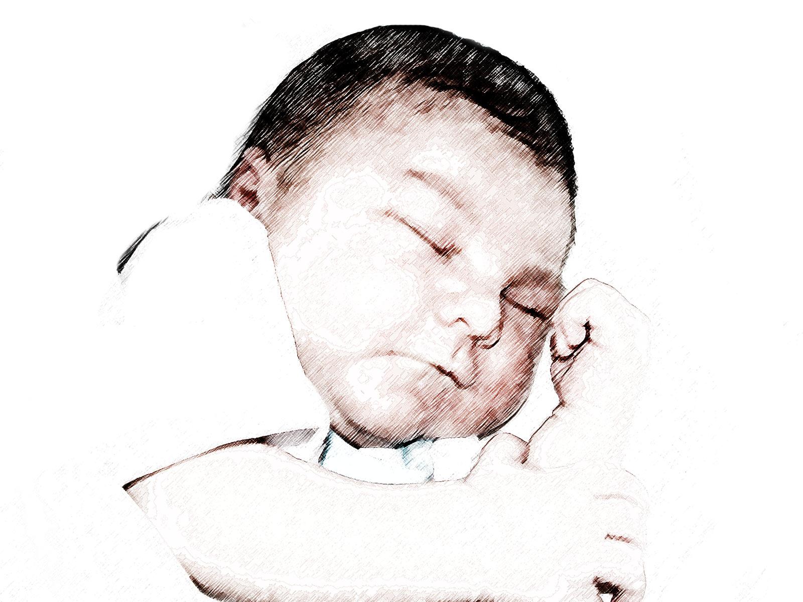 Ilustración gratis - Dibujo de un bebé durmiendo