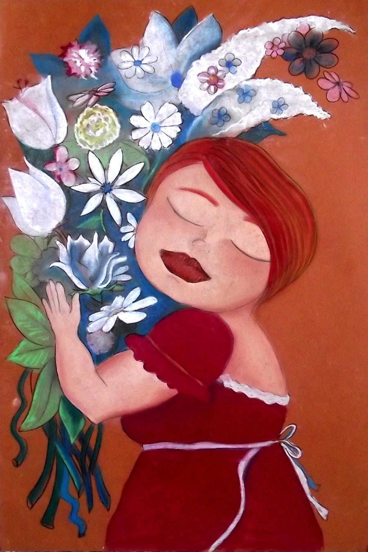 Ilustración Mujer abrazada a un ramo de flores