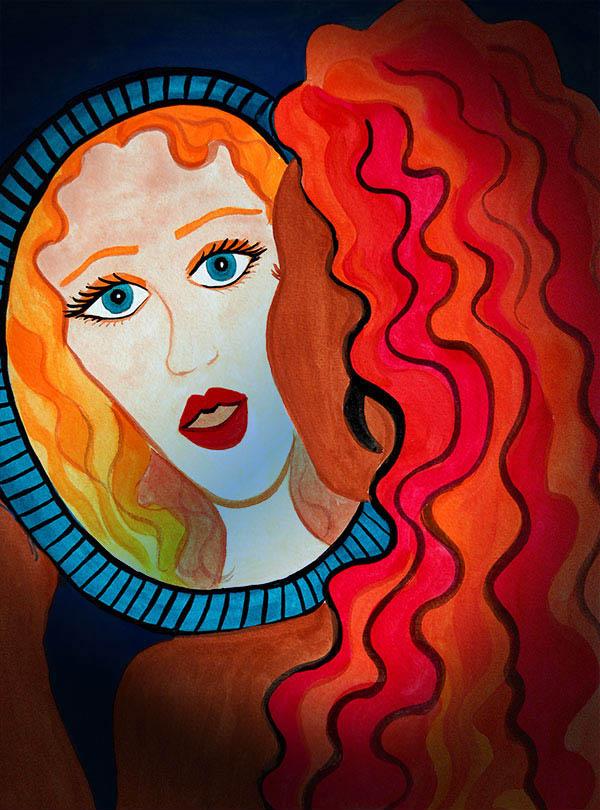 Ilustración gratis - ¿Quién soy yo? Mujer mira su imagen frente a un espejo