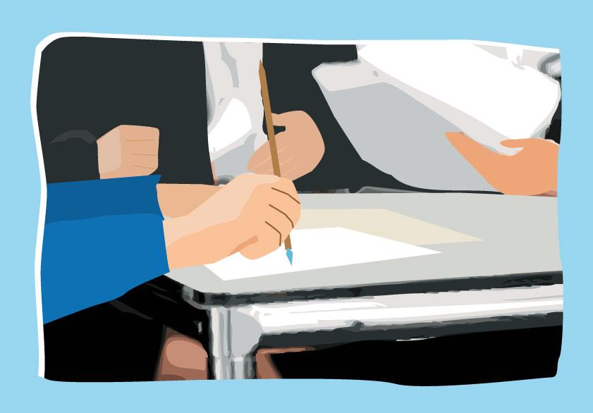 Ilustración gratis - Abogados escribiendo y firmando documentos