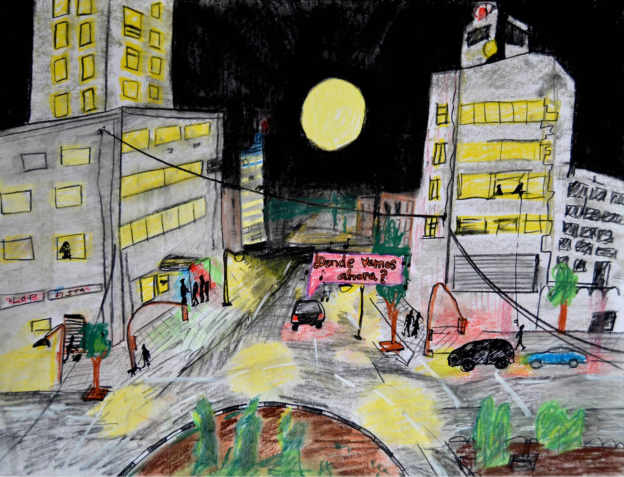 Ilustración gratis - ¿Dónde vamos ahora? en coche por la ciudad