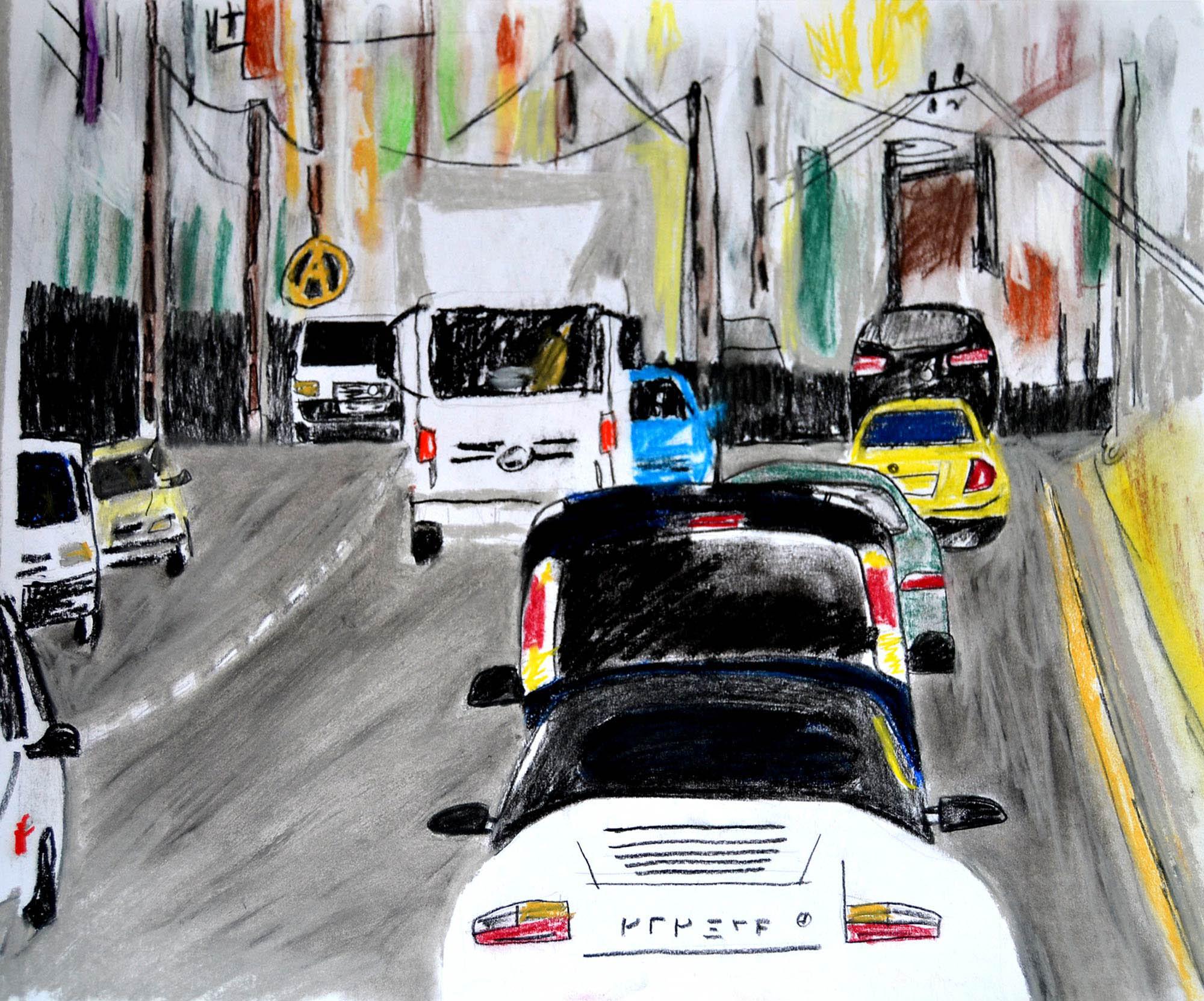 Ilustración gratis - Atasco de tráfico