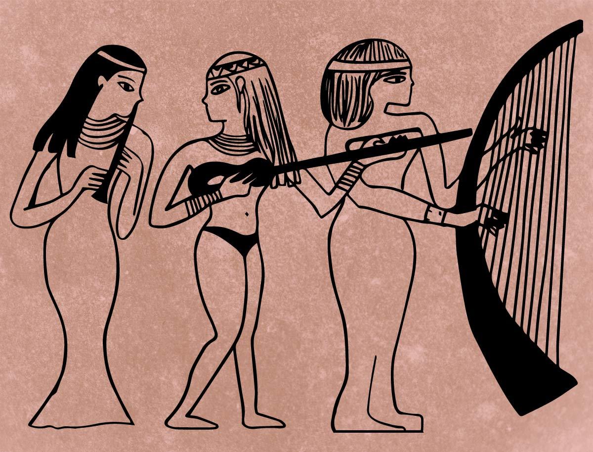 Ilustración gratis - Egipcias tocando música