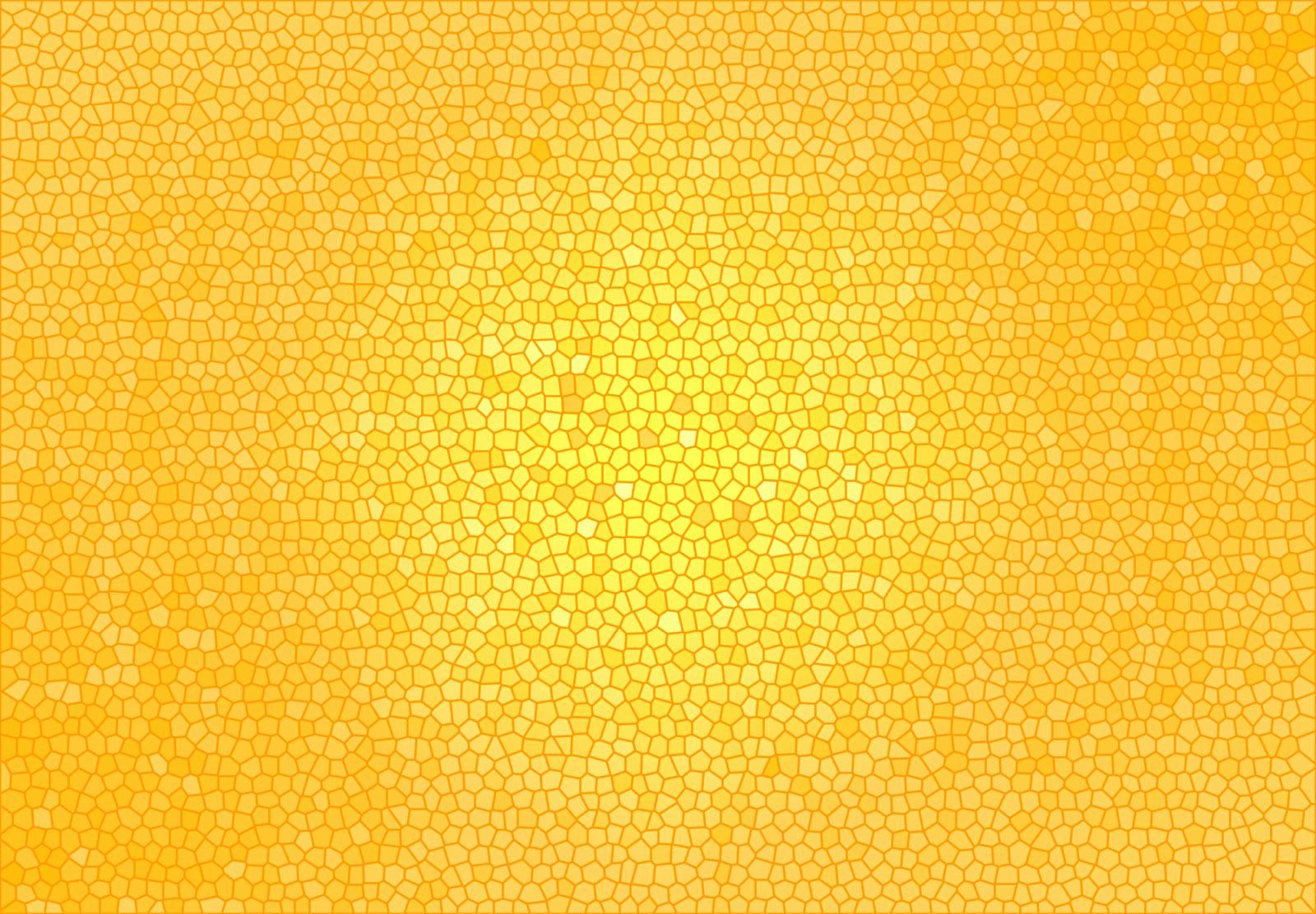 Vidriera de colores naranjas y dorados