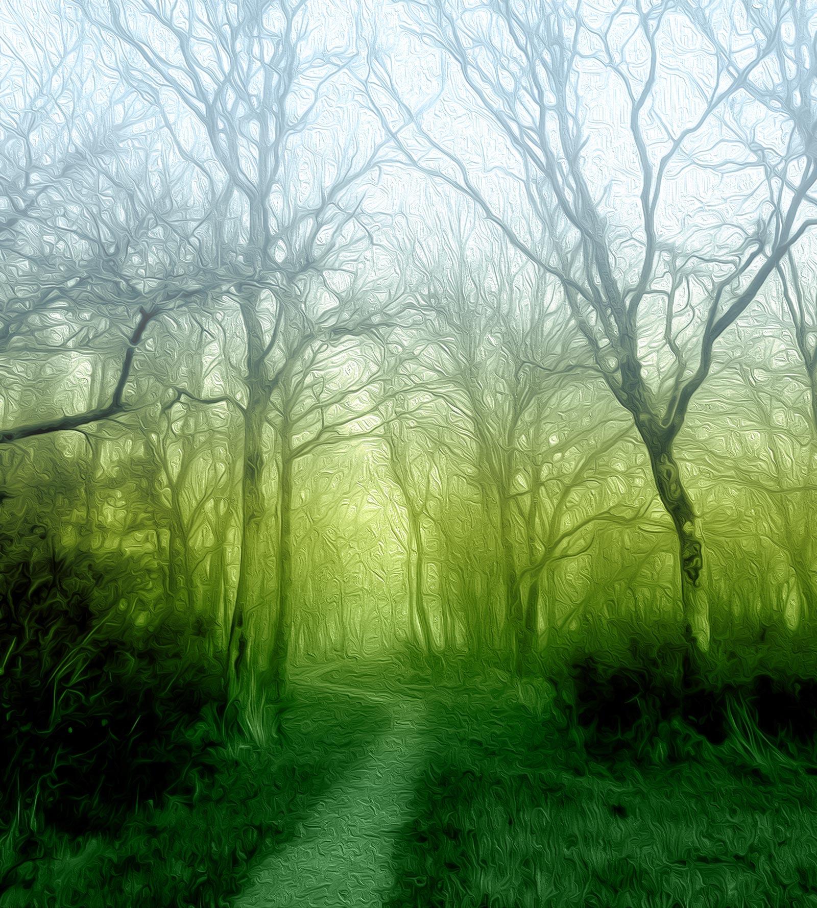 Ilustración gratis -Paisaje con árboles y niebla - Efecto pintura al óleo