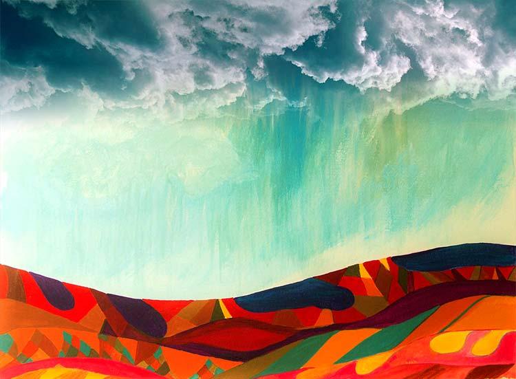 Ilustración gratis - Lluvia sobre las montañas