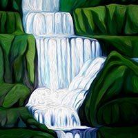 Cascada de un río en una montaña verde y redondeada