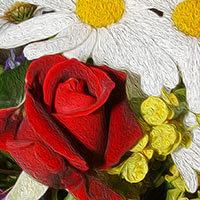 Ilustración con varias flores de alegres colores