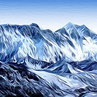 Gran Monte Himalaya estilo expresionista