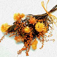 Ramo de flores secas amarillas y ocres