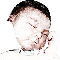 Ilustración de un bebé durmiendo tranquilamente