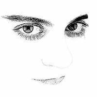 Rostro blanco con grandes ojos