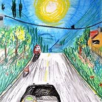 Ilustración de un coche por la carretera