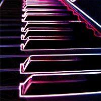 Piano psicodélico en luces de neón