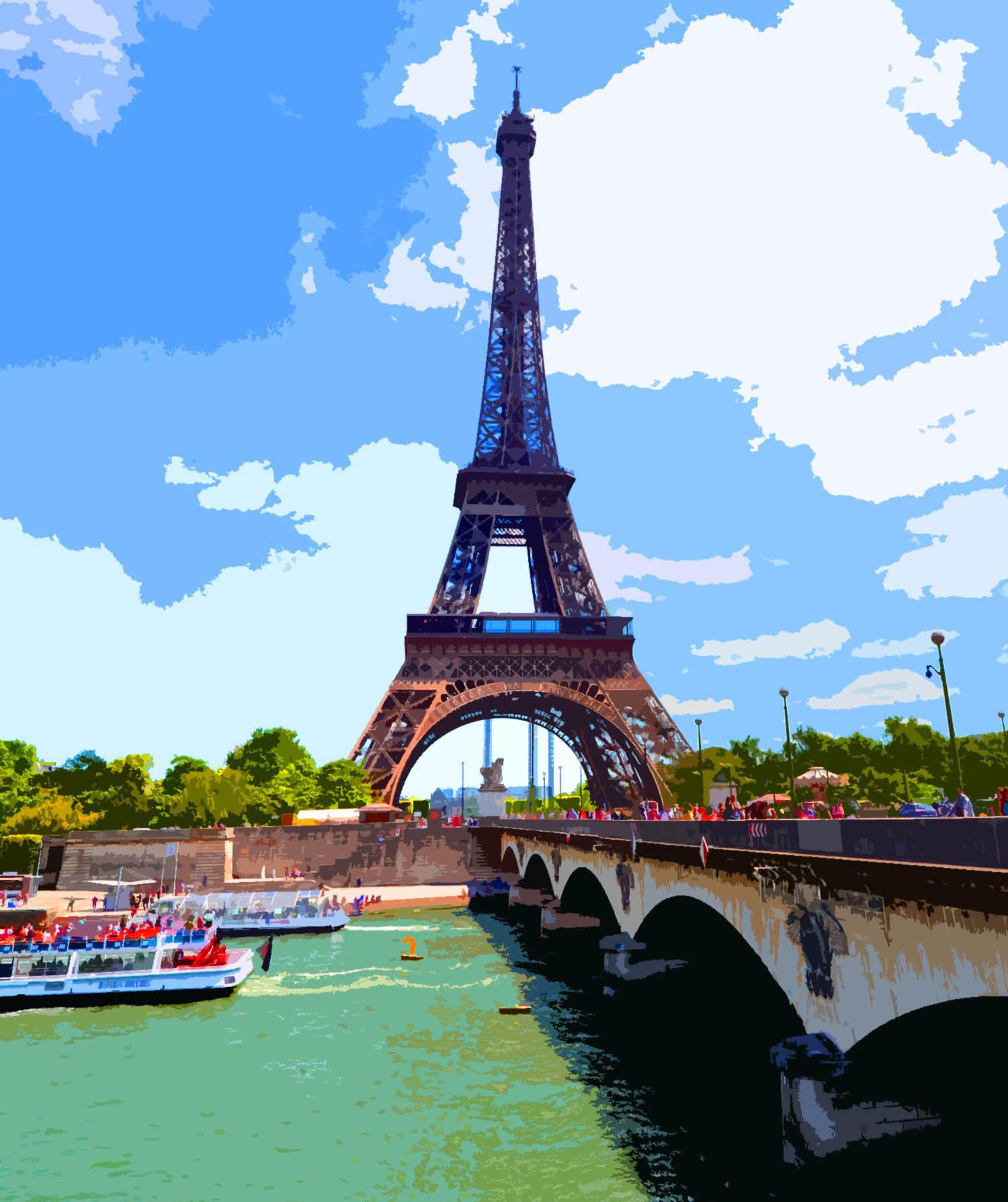 Ilustración gratis - Torre Eiffel al lado del rio Sena