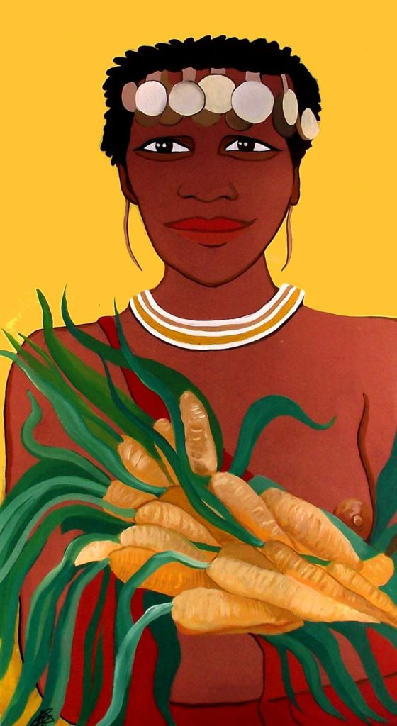 mujer africana ilustración pintura acrílico