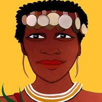 ilustración Mujer africana con verduras